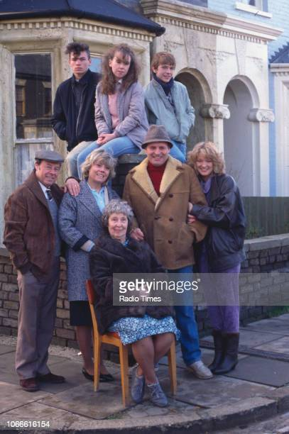 Actors David Scarboro Susan Tully and Adam Woodyatt with Bill Treacher Wendy Richard Anna Wing Peter Dean and Gillian Taylforth pictured on the...