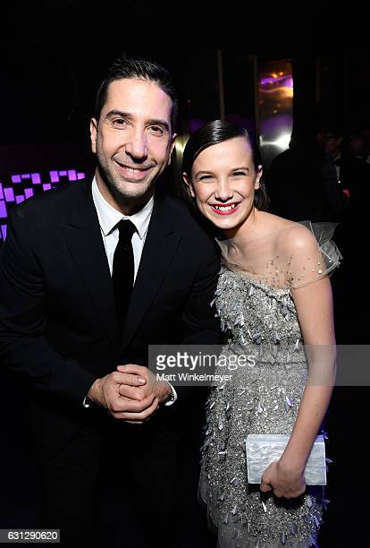 Actors David Schwimmer and Millie Bobby Brown attend The 2017 InStyle and Warner Bros 73rd Annual Golden Globe Awards PostParty at The Beverly Hilton...