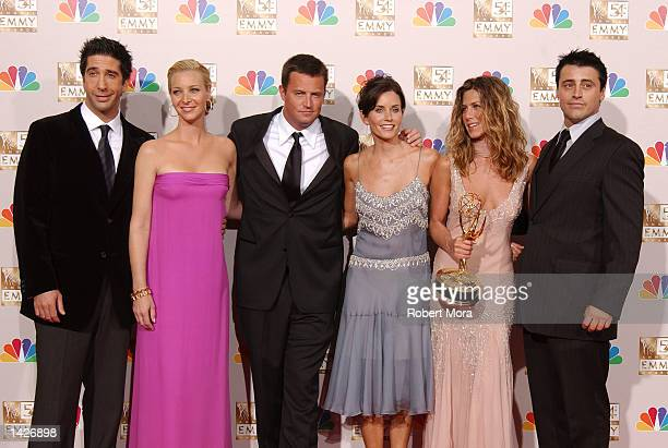 Actors David Schwimmer, Lisa Kudrow, Matthew Perry, Courteney Cox Arquette, Jennifer Aniston and Matt LeBlanc pose backstage during the 54th Annual...