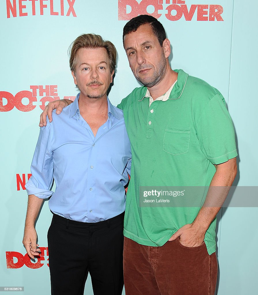 Actors David Spade and Adam Sandler attend the premiere of Netflix's 'The Do Over' at Regal LA Live Stadium 14 on May 16, 2016 in Los Angeles, California.