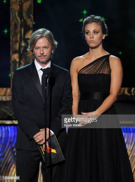 Actors David Spade and Kaley Cuoco speak onstage during the 63rd Annual Primetime Emmy Awards held at Nokia Theatre LA LIVE on September 18 2011 in...