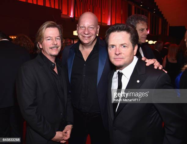 Actors David Spade Jeff Ross and Michael J Fox attend the 2017 Vanity Fair Oscar Party hosted by Graydon Carter at Wallis Annenberg Center for the...