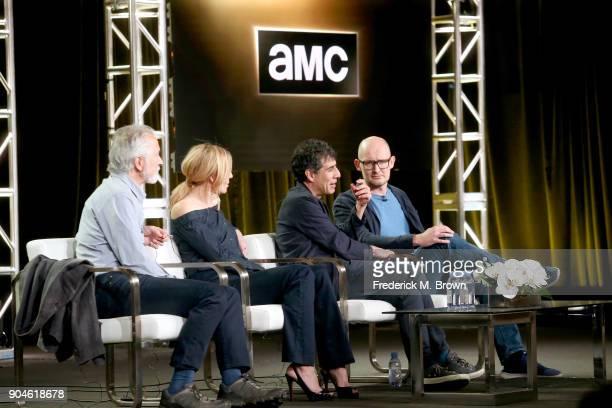 Actors David Strathairn and Juliet Rylance creator/writer Hossein Amini and director James Watkins of 'McMafia' speak onstage during the AMC Networks...