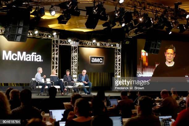 Actors David Strathairn and Juliet Rylance creator/writer Hossein Amini director James Watkins and James Norton of 'McMafia' speak onstage during the...