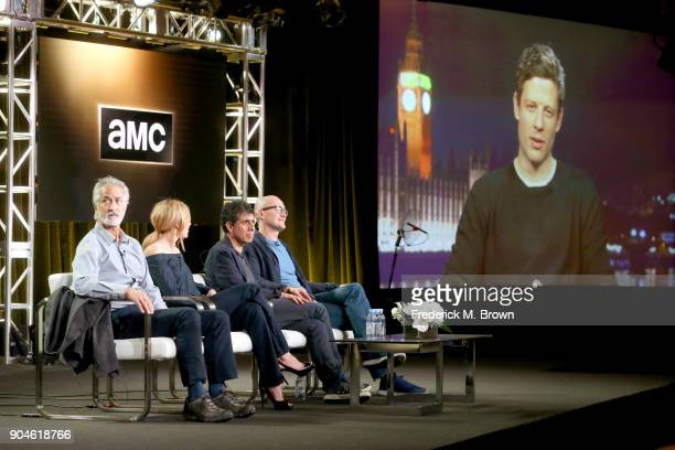 Actors David Strathairn and Juliet Rylance creator/writer Hossein Amini director James Watkins and James Norton of 'McMafia' speak onstage during the...