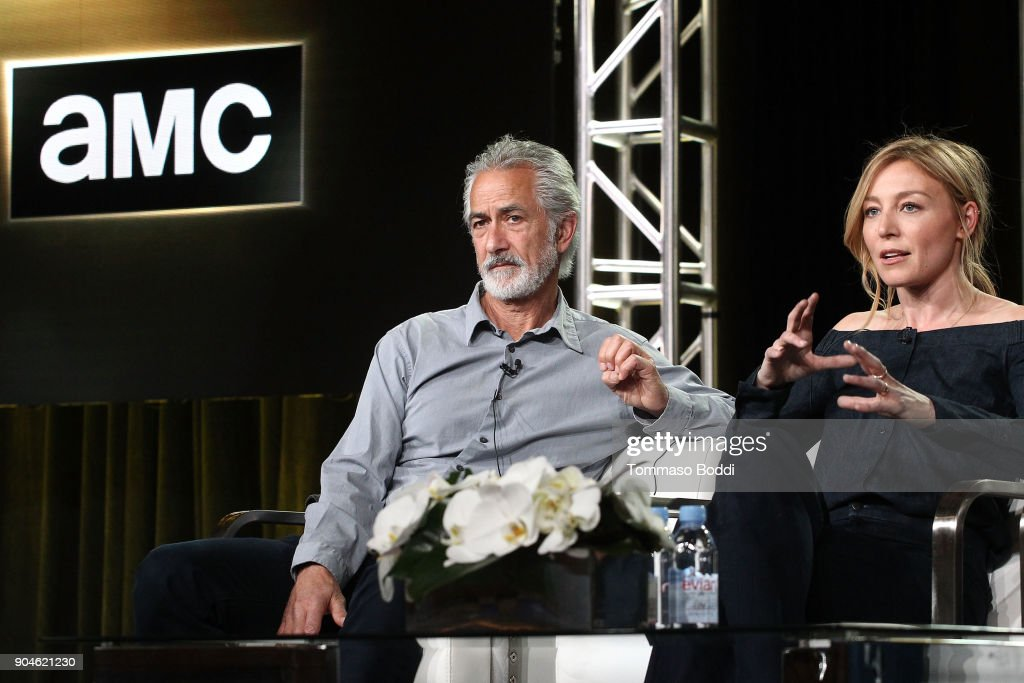 Actors David Strathairn (L) and Juliet Rylance of the television show McMafia speak onstage during the AMC portion of the 2018 Winter Television Critics Association Press Tour on January 13, 2018 in Pasadena, California.