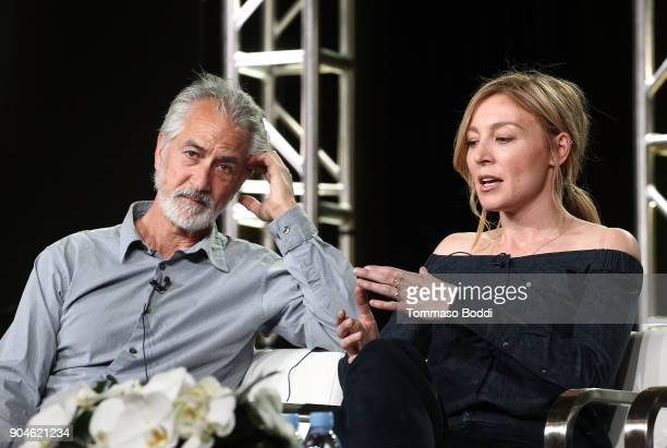 Actors David Strathairn and Juliet Rylance of the television show McMafia speak onstage during the AMC portion of the 2018 Winter Television Critics...