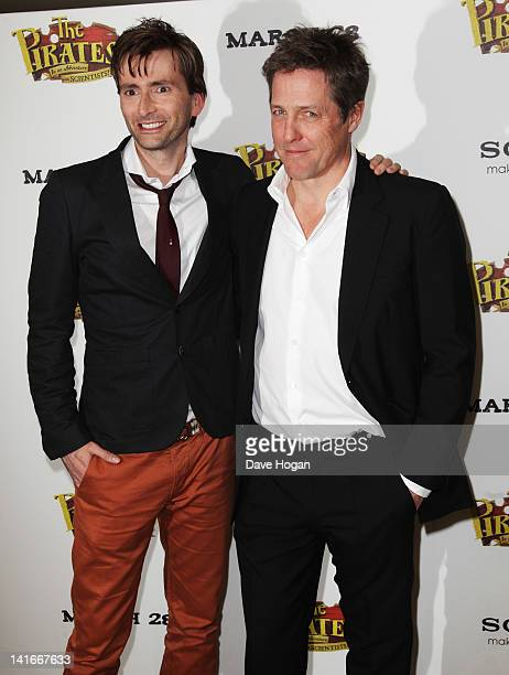 Actors David Tennant and Hugh Grant attend The Pirates In An Adventure With Scientists UK premiere at The Mayfair Hotel on March 21 2012 in London...