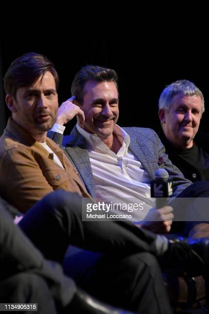 Actors David Tennant and Jon Hamm and director Douglas Mackinnon take part in a QA following the premiere the Good Omens The Nice and Accurate SXSW...