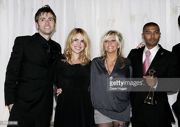 Actors David Tennant Billie Piper Camille Coduri and Noel Clarke pose in the awards room with the award for Most Popular Drama for Doctor Who at the...