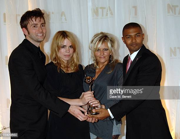 Actors David Tennant Billie Piper Camille Coduri and Noel Clarke pose in the Awards Room with the Most Popular Drama Award for Doctor Who at the...