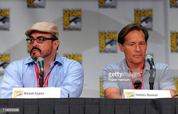 Actors David Zayas and James Remar speak at Showtime Tired of Ordinary Television New Season Preview at the San Diego Convention Center on July 21...