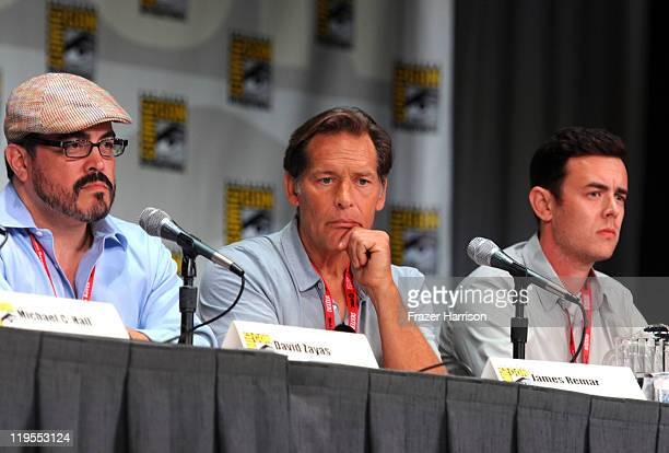 Actors David Zayas James Remar and Colin Hanks speak at Showtime Tired of Ordinary Television New Season Preview at the San Diego Convention Center...