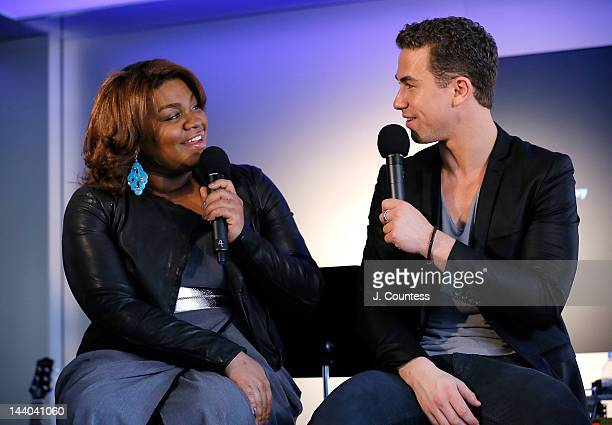 Actors Da'Vine Joy Randolph and Richard Fleeshman of Ghost the Musical onstage during a visit to the Apple Store West 14th Street on May 8 2012 in...