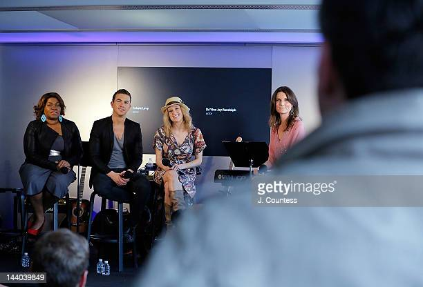 Actors Da'Vine Joy Randolph Richard Fleeshman and Caissie Levy of Ghost the Musical join journalist Shanon Cook onstage during a QA at the Apple...