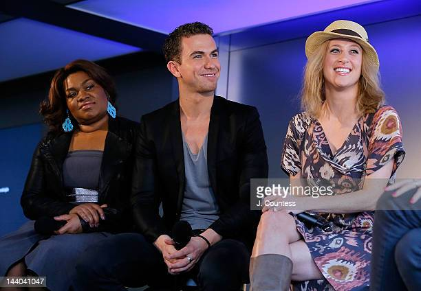 Actors Da'Vine Joy Randolph Richard Fleeshman and Caissie Levy of Ghost the Musical onstage during a QA at the Apple Store West 14th Street on May 8...