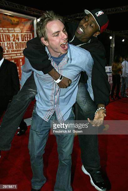 Actors Dax Shepard and Al Shearer attend the General Motors Shaquille O'Neal Rollin 24 Deep GMAll Car Showdown at Raleigh Studios on February 12 2004...
