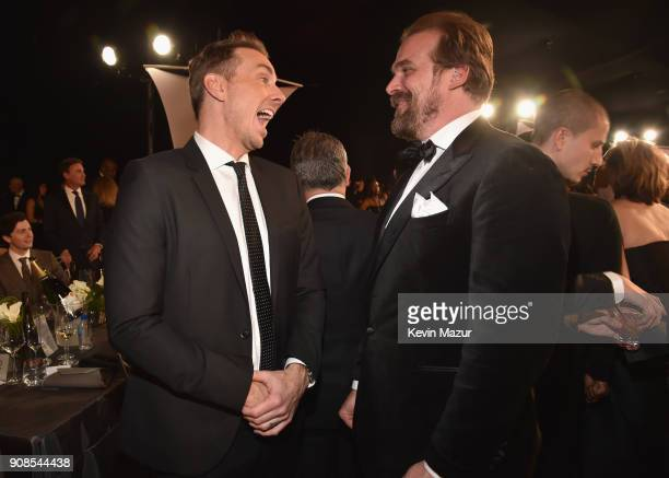 Actors Dax Shepard and David Harbour during the 24th Annual Screen Actors Guild Awards at The Shrine Auditorium on January 21 2018 in Los Angeles...