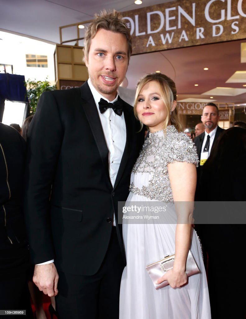 Actors Dax Shepard and Kristen Bell arrive at the 70th Annual Golden Globe Awards held at The Beverly Hilton Hotel on January 13, 2013 in Beverly Hills, California.