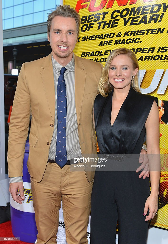 Actors Dax Shepard and Kristen Bell arrive to the premiere of Open Road Films' 'Hit and Run' on August 14, 2012 in Los Angeles, California.