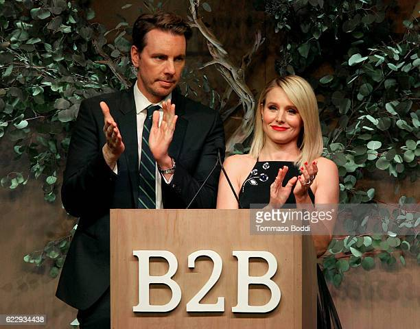 Actors Dax Shepard and Kristen Bell speaks onstage during the Fifth Annual Baby2Baby Gala Presented By John Paul Mitchell Systems at 3LABS on...