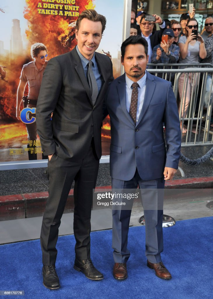 Actors Dax Shepard and Michael Pena arrive at the premiere of Warner Bros. Pictures' 'CHiPS' at TCL Chinese Theatre on March 20, 2017 in Hollywood, California.