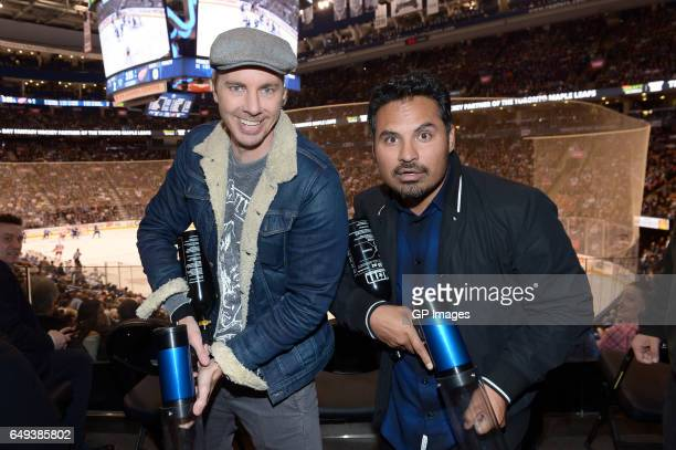 Actors Dax Shepard and Michael Pena visit the Air Canada Centre to celebrate the release of 'CHIPS' on March 7 2017 in Toronto Canada