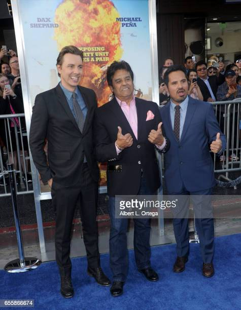Actors Dax Shepard Erik Estrada and Michael Peña arrive for the Premiere Of Warner Bros Pictures' CHiPS held at TCL Chinese Theatre on March 20 2017...