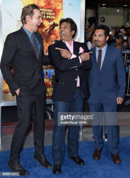 Actors Dax Shepard Erik Estrada and Michael Pena arrive at the premiere of Warner Bros Pictures' 'CHIPS' at TCL Chinese Theatre on March 20 2017 in...