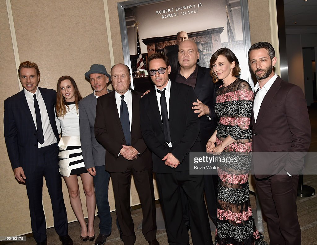 Actors Dax Shepard, Leighton Meester, Billy Bob Thornton, Robert Duvall, executive producer/actor Robert Downey Jr., and actors Vincent D'Onofrio, Vera Farmiga and Jeremy Strong attend the Premiere of Warner Bros. Pictures and Village Roadshow Pictures' 'The Judge' at AMPAS Samuel Goldwyn Theater on October 1, 2014 in Beverly Hills, California.