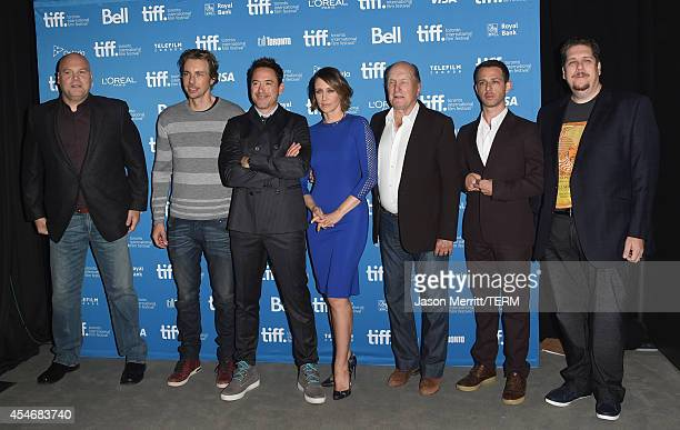Actors Dax Shepard Vincent D'Onofrio Vera Farmiga Robert Duvall Jeremy Strong Robert Downey Jr and producer David Gambino pose during The Judge Press...