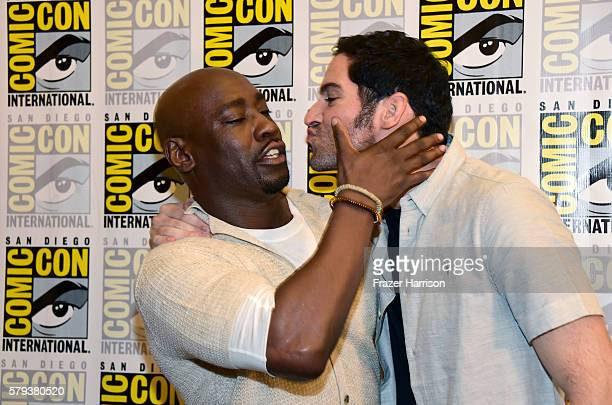 Actors DB Woodside and Tom Ellis attends the Lucifer Press Line during ComicCon International 2016 at Hilton Bayfront on July 23 2016 in San Diego...