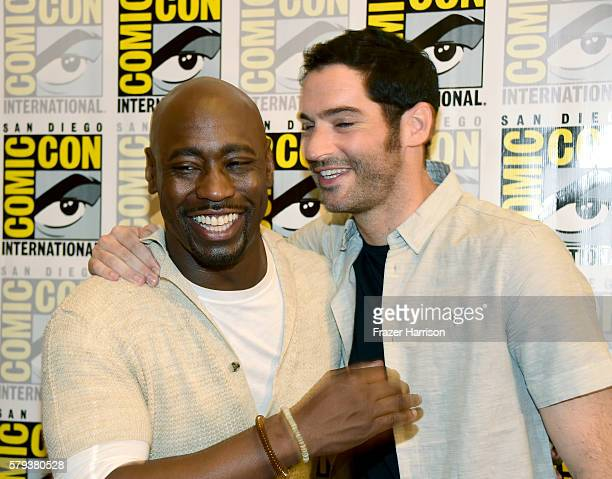 Actors DB Woodside and Tom Ellis attends the 'Lucifer' Press Line during ComicCon International 2016 at Hilton Bayfront on July 23 2016 in San Diego...