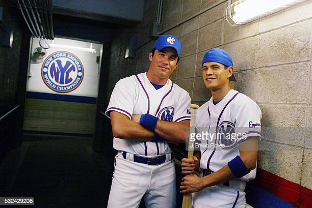Actors Dean Cain and JD Pardo from the new CBS series TV drama Clubhouse poses on the set