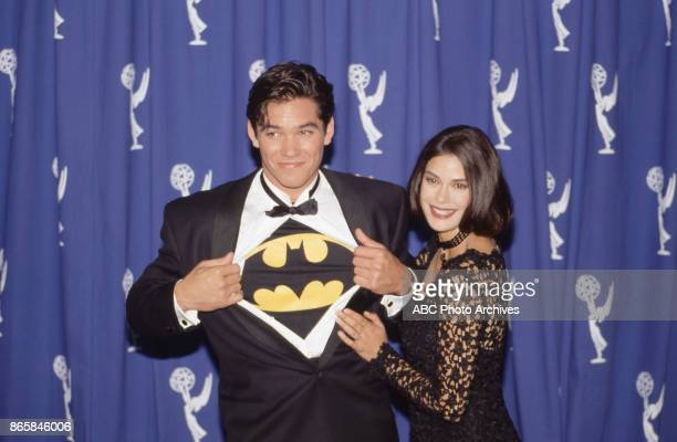 Actors Dean Cain and Teri Hatcher in the press room at The 45th Annual Primetime Emmy Awards on September 19 1993 at Pasadena Civic Auditorium in...
