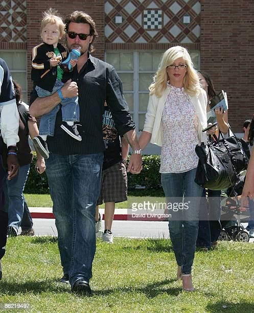 Actors Dean McDermott and Tori Spelling and their son Liam Aaron McDermott attend the 14th annual Los Angeles Times Festival of Books at UCLA on...