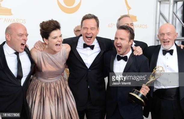 "Actors Dean Norris, Betsy Brandt, Bryan Cranston, Aaron Paul, Bob Odenkirk and Jonathan Banks, winners of the Best Drama Series Award for ""Breaking..."