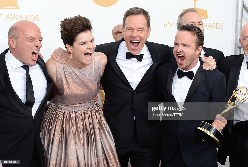 Actors Dean Norris, Betsy Brandt, Bryan Cranston and Aaron Paul, winners of Outstanding Drama Series for 'Breaking Bad,' pose in the press room during the 65th Annual Primetime Emmy Awards held at Nokia Theatre L.A. Live on September 22, 2013 in Los Angeles, California.