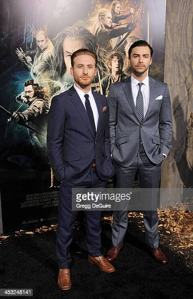 Actors Dean O'Gorman and Aidan Turner arrive at the Los Angeles premiere of The Hobbit The Desolation Of Smaug at TCL Chinese Theatre on December 2...