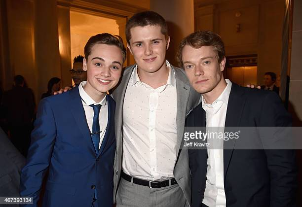 Actors DeanCharles Chapman Eugene Simon and Alfie Allen attend the after party for HBO's 'Game of Thrones' Season 5 at San Francisco City Hall on...