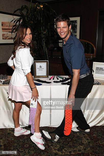 Actors Debbe Dunning and Ryan McPartlin attend the Backstage Creations Retreat At George Lopez's Celebrity Golf Classic held at Lakeside Golf Club on...
