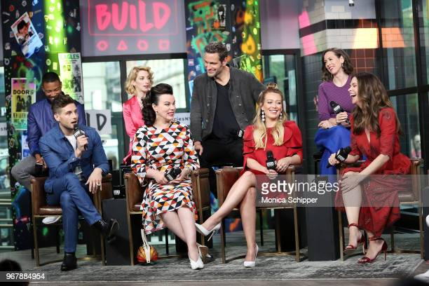 Actors Debi Mazar Charles Michael Davis Molly Bernard Nico Tortorella Sutton Foster Hilary Duff Miriam Shor and Peter Hermann visit Build Studio to...