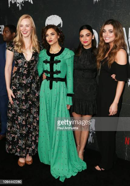 Actors Deborah Ann Woll Amber Rose Revah Floriana Lima and Giorgia Whigham attend Marvel's The Punisher Los Angeles premiere at the ArcLight...