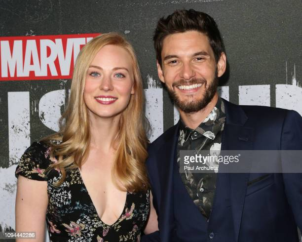 Actors Deborah Ann Woll and Ben Barnes attend Marvel's 'The Punisher' Los Angeles premiere at the ArcLight Hollywood on January 14 2019 in Hollywood...