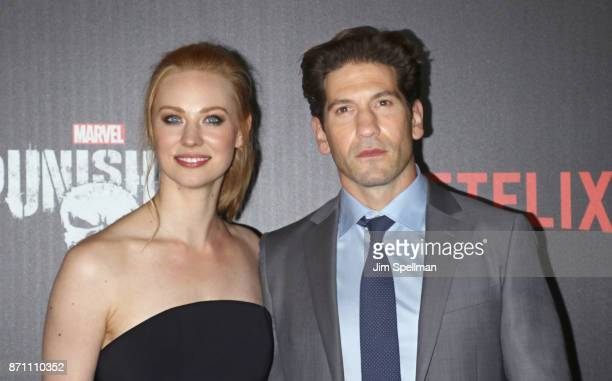 Actors Deborah Ann Woll and Jon Bernthal attend the 'Marvel's The Punisher' New York premiere at AMC Loews 34th Street 14 theater on November 6 2017...