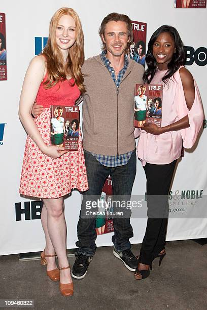 """Actors Deborah Ann Woll, Sam Trammell and Rutina Wesley attend the """"True Blood Volume 1: All Together Now"""" book signing at Barnes & Noble bookstore..."""