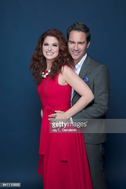 Actors Debra Messing and Eric McCormack of 'Will and Grace' are photographed for Los Angeles Times on March 17 2018 at the PaleyFest at the Dolby...
