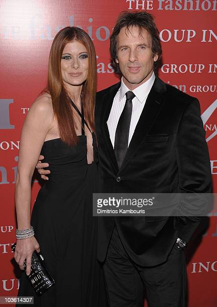 Actors Debra Messing and Hart Bochner arrive at The Fashion Group International's 25th Annual Night of Stars at Cipriani Wall Street on October...
