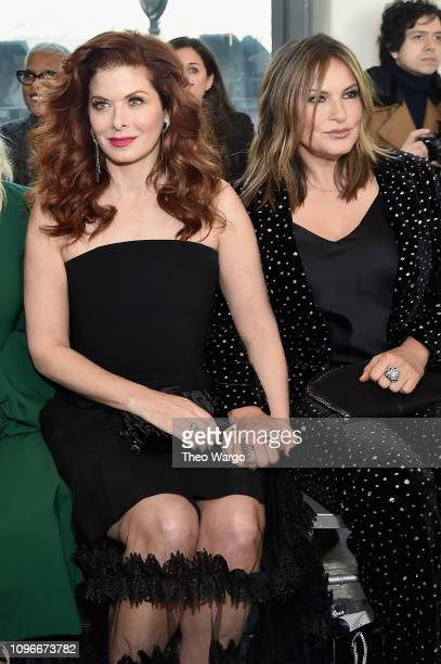 Actors Debra Messing and Mariska Hargitay attend the Christian Siriano front row during New York Fashion Week The Shows at Top of the Rock on...