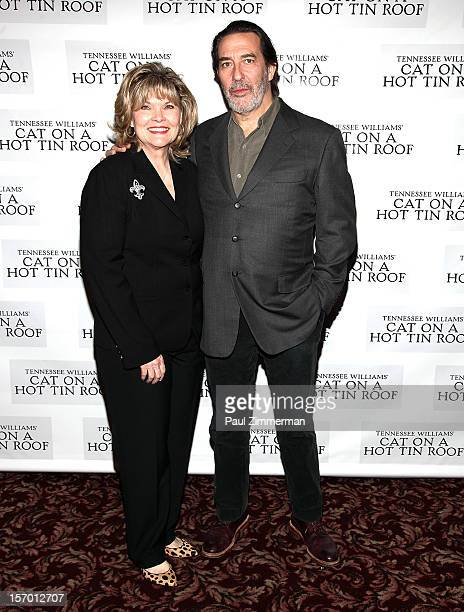 """Actors Debra Monk and Ciaran Hinds attend """"Cat On A Hot Tin Roof"""" photo call at Sardi's Restaurant on November 27, 2012 in New York City."""